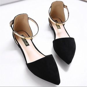 Shoes - New Black Pointy Toe Ankle Strap Flats